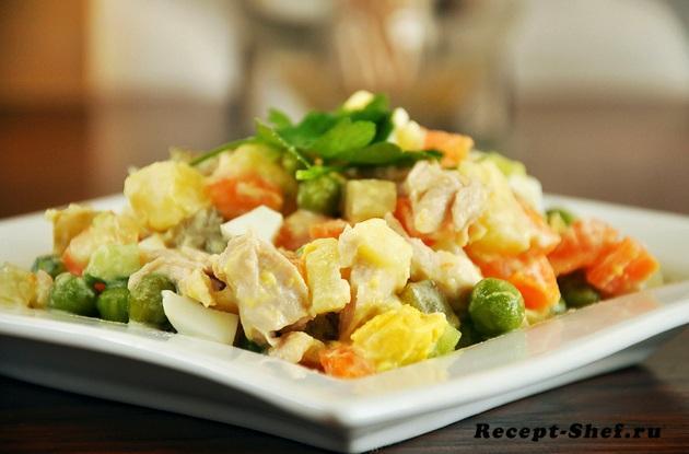 """Рецепт салата """"Оливье"""", как приготовить"""