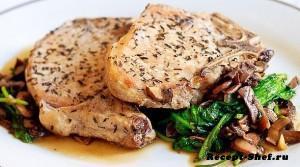 Вкусная свинина с рукколой и грибами