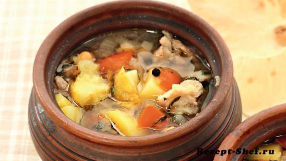 Суп из баранины в горшочках