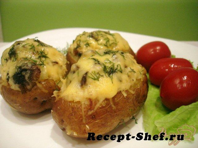 Картофель фаршированный суфле с грибами