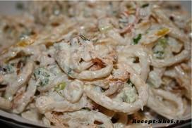 Рецепт - кальмары в сметане