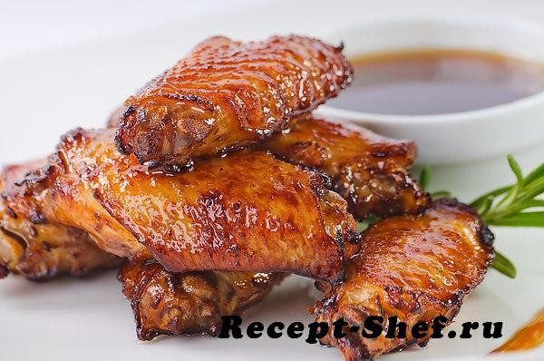 Куриные крылья с соусом сладкий чили