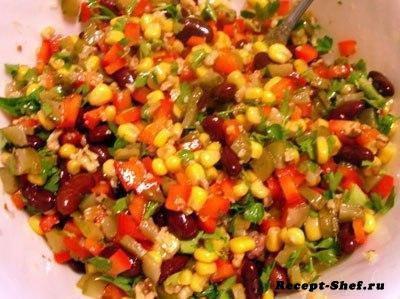 Салат «Мазурка» с фасолью, кукурузой, перцем болгарским