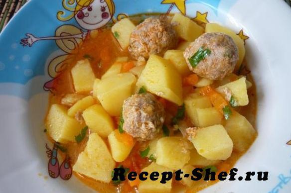 Тушеный картофель с фрикадельками