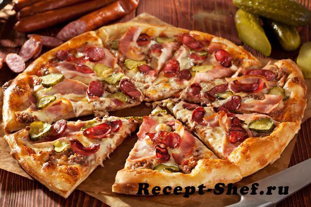 Пицца с огурцами и колбасой рецепт с пошагово
