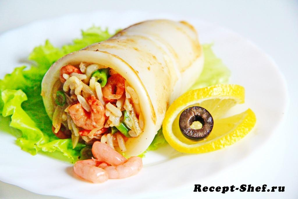 Фаршированные кальмары с рисом и креветками