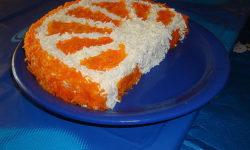"""Салат """"долька апельсина"""" с курицей и морковью"""
