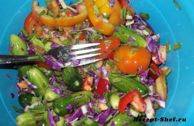 Салат с синей капустой и мини-огурцами