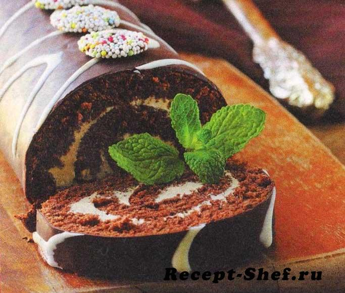 Шоколадный рулет с масляным кремом