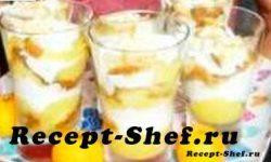 """Десерт с апельсином, кексом и взбитыми сливками """"Флирт"""""""
