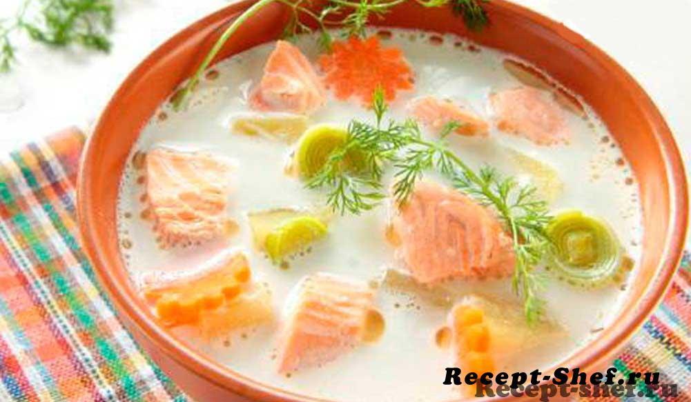 Суп с семгой и плавленным сыром