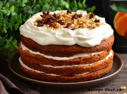 Морковный торт с курагой и орехами