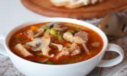 Суп из свинины с шампиньонами