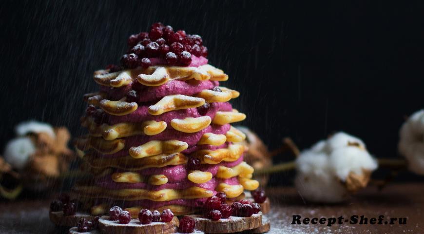 Венские вафли с ягодным творогом