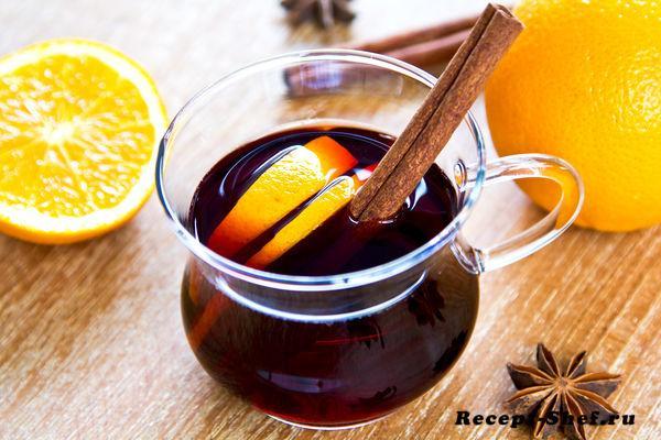 Глинтвейн с корицей и дольками апельсина — подробный рецепт