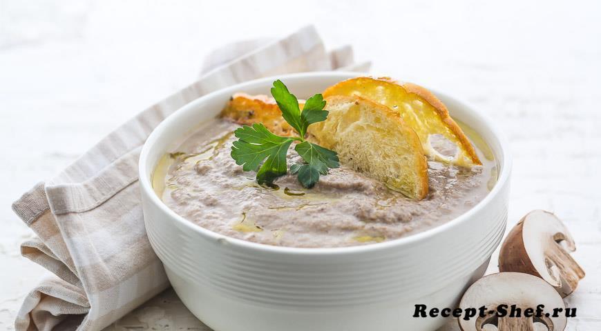 Суп из запеченных грибов
