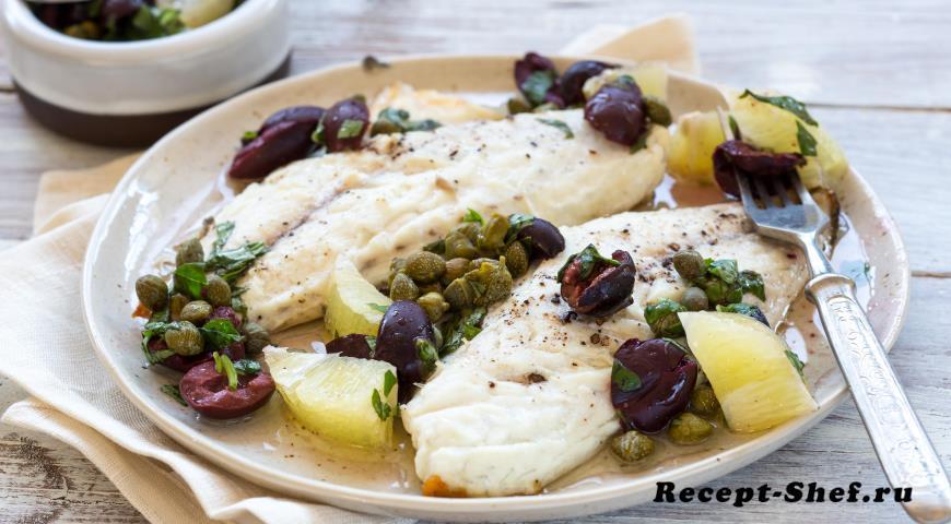 Сибас с маслинами, лимоном и каперсами