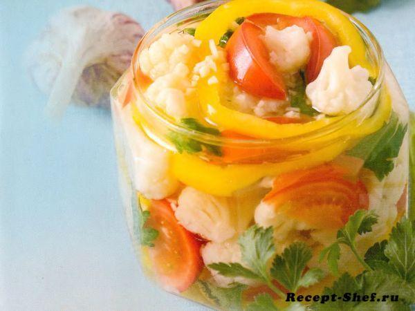 Ассорти из цветной капусты, помидоров и перцев на зиму
