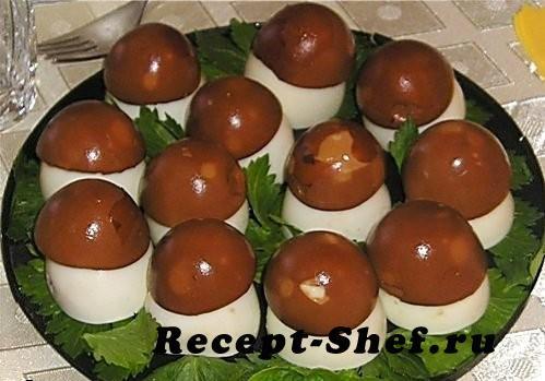 """Фаршированные яйца """"грибная полянка"""""""