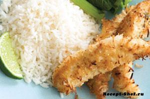 Рыба в кокосовом кляре с рисом