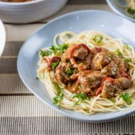 Гуляш из говядины со спагетти