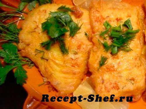 Жареная рыба в тесте с сыром