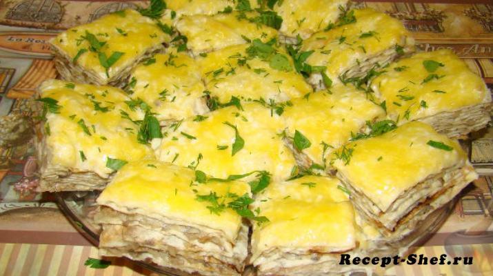 Закусочный торт из лаваша с шампиньонами и сыром