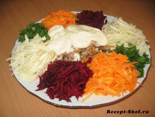 Салат козел в огороде рецепт с мясом с пошагово в