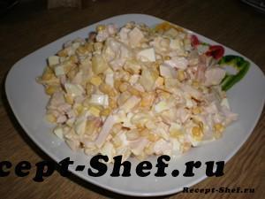 "Салат с ананасами и курицей ""Буржуйский"""
