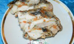 Куриный рулет абалишский с грибами и морковью