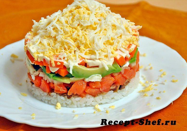 Салат с семгой слоеный рецепт с